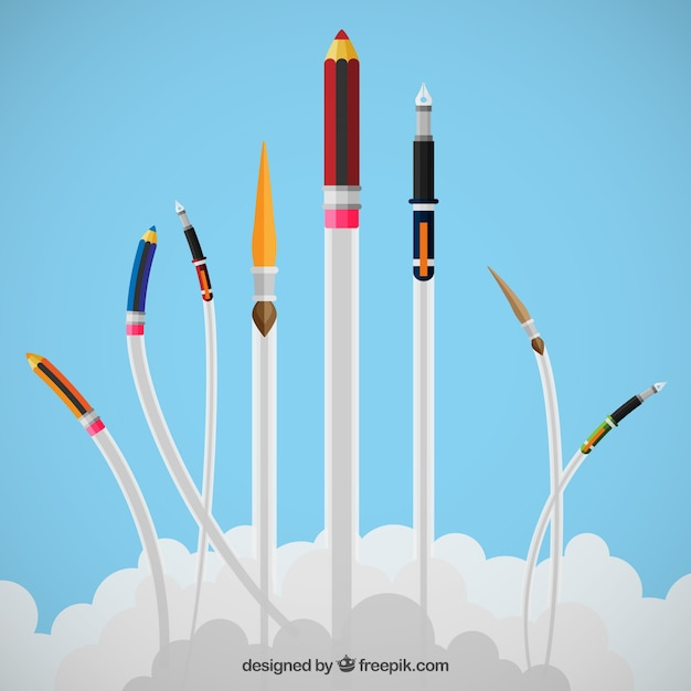 Drawing and writing tools flying Free Vector