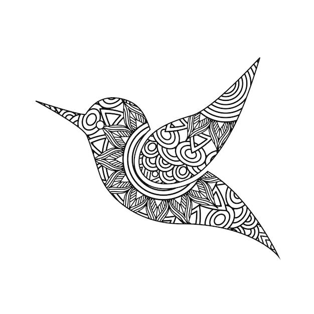 Рисование zentangle для взрослой страницы для взрослых птиц Premium векторы
