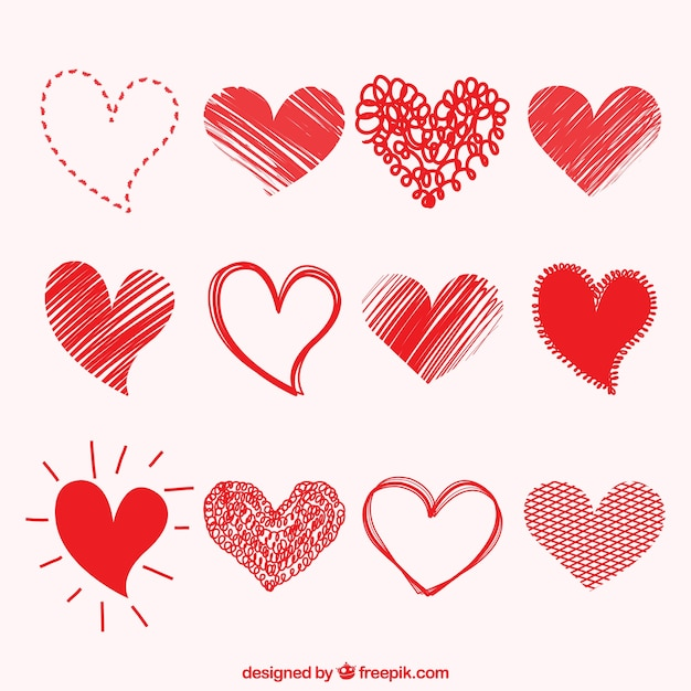 Drawings of hearts collection Free Vector