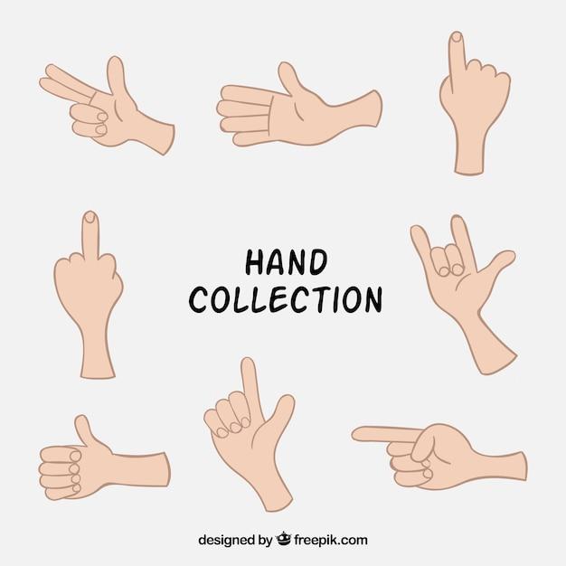 Drawings of hands set