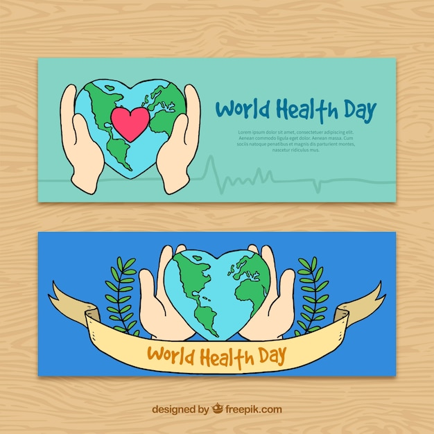 Drawings Of Hands With The World Banners Free Vector