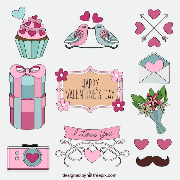 Drawings Valentines Day Pack Premium Vector