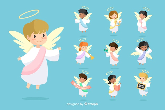 Drawn angel collection Free Vector