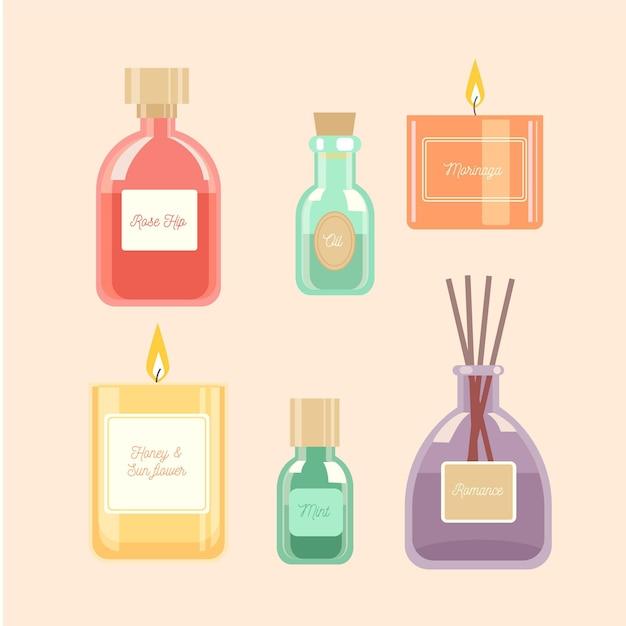 Pacchetto elemento aromaterapia disegnato Vettore gratuito