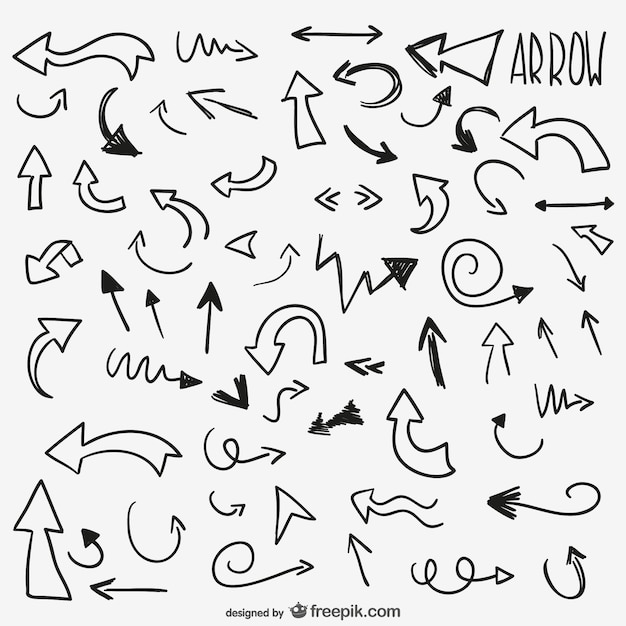 Drawn arrows pack Free Vector