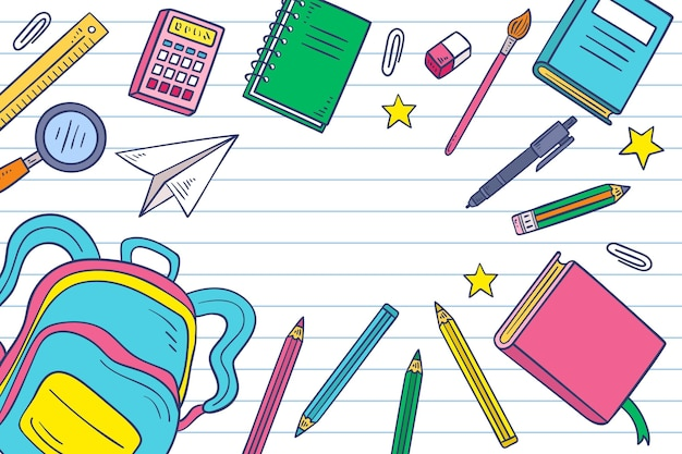 Drawn back to school background with empty space Free Vector