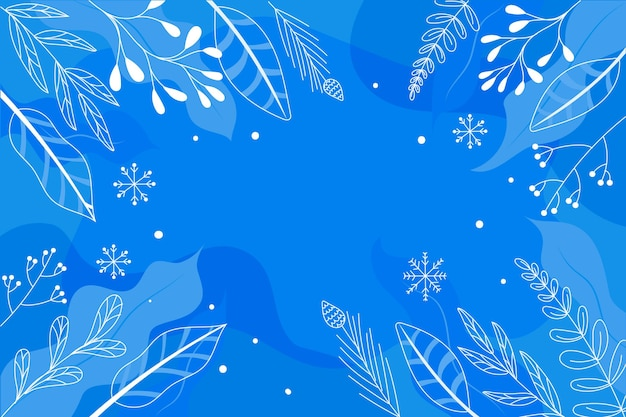 Drawn background with winter leaves Free Vector