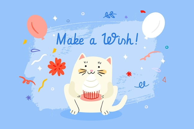 Drawn birthday background with cute cat Free Vector