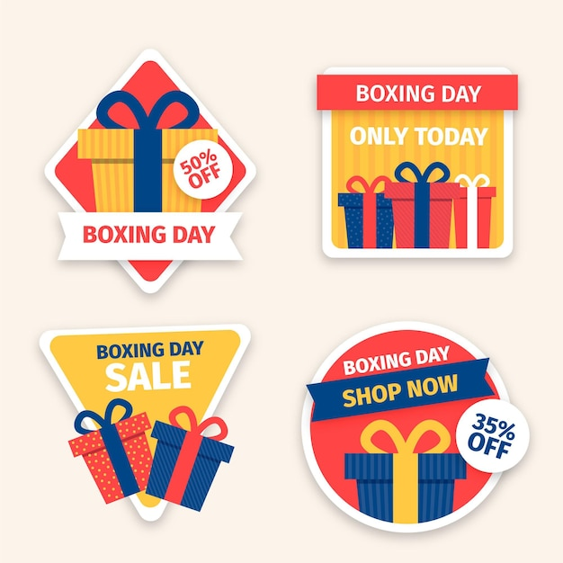 Drawn boxing day sale labels collection Free Vector