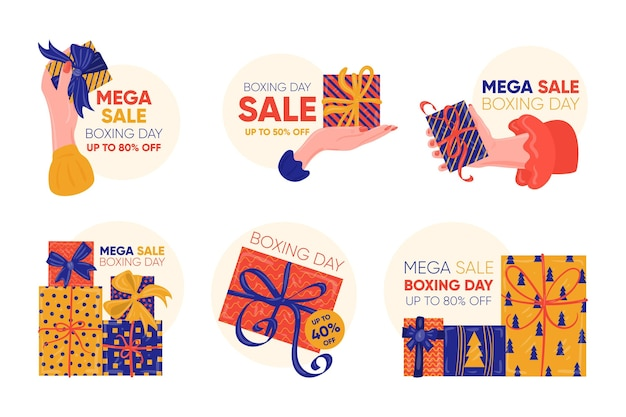 Drawn boxing day sale labels Premium Vector