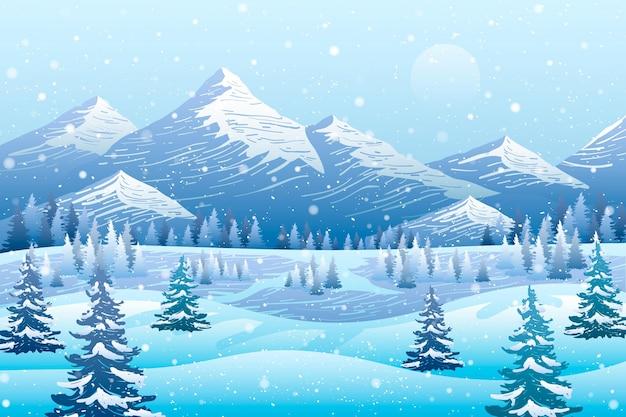 描かれた寒い冬の風景の背景 Premiumベクター
