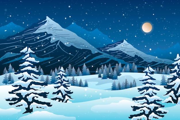 描かれた寒い冬の風景の壁紙 無料ベクター