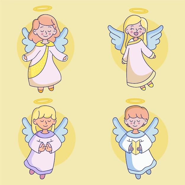 Set di angeli di natale disegnati Vettore gratuito