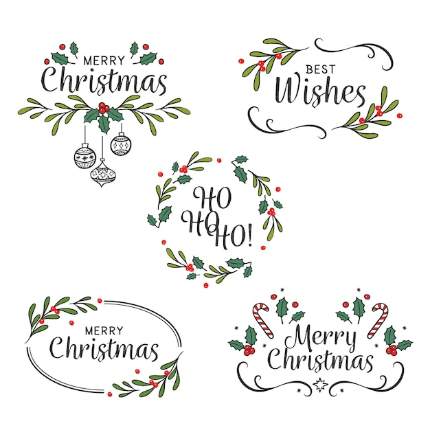 Drawn christmas badges pack Free Vector