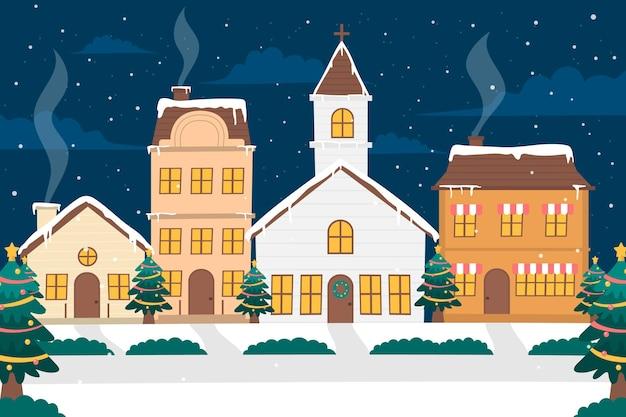 Нарисованный рождественский город ночью Бесплатные векторы