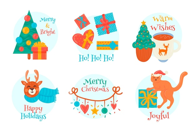 Confezione di etichette natalizie disegnate Vettore gratuito