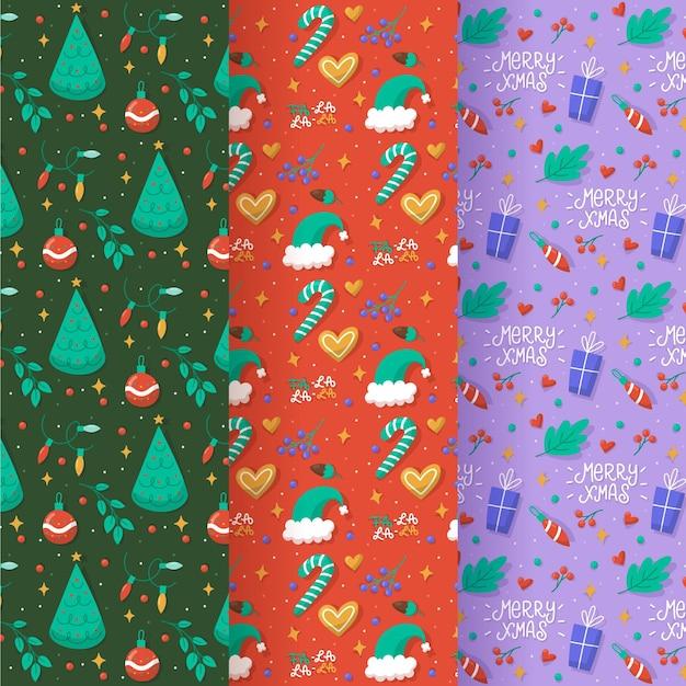 그린 된 크리스마스 패턴 세트 프리미엄 벡터
