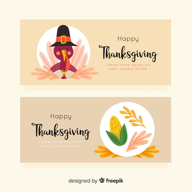Drawn concept for thanksgiving banners Free Vector