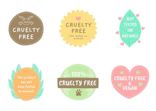 Pacchetto di badge cruelty free disegnati Vettore gratuito