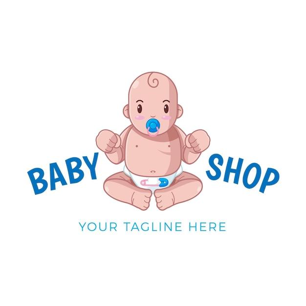 描かれた詳細な赤ちゃんのロゴのテンプレート Premiumベクター