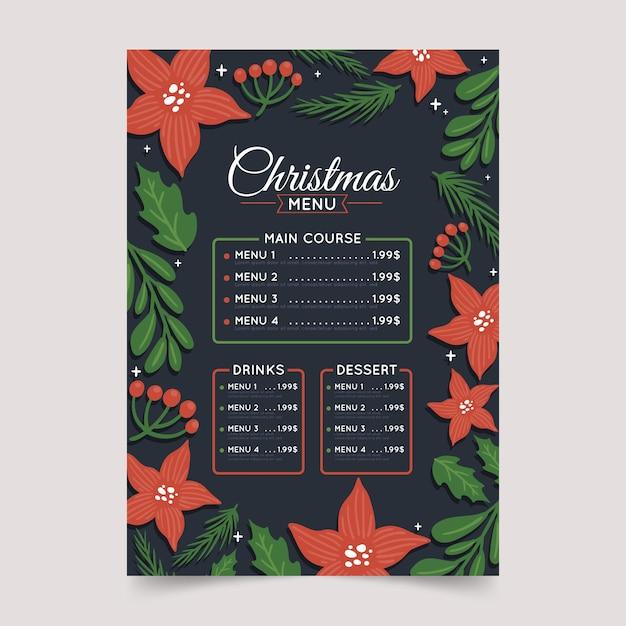 Нарисованное праздничное рождественское меню ресторана Бесплатные векторы