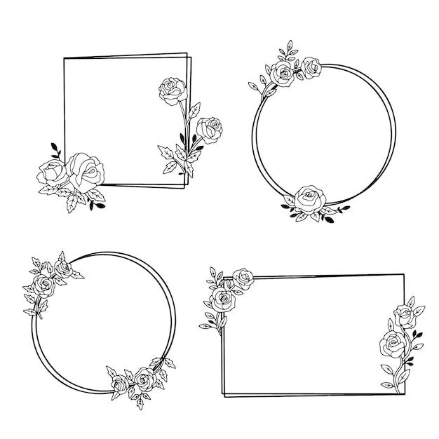 Collezione di cornici floreali disegnate Vettore gratuito