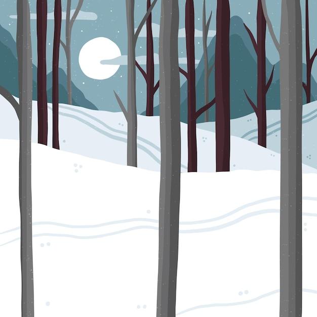 冬に描かれた森 無料ベクター