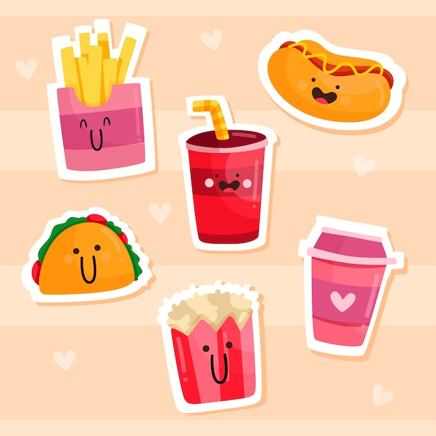 Drawn funny sticker pack Free Vector