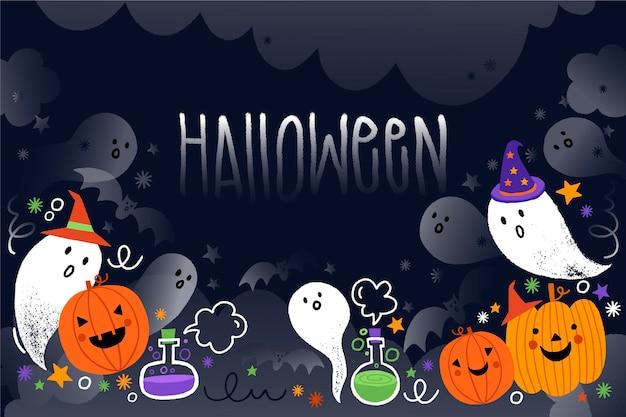 Обращается хэллоуин фон с призраками Premium векторы