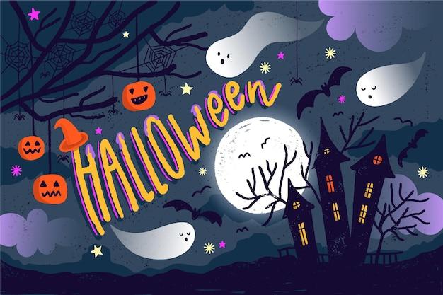 Нарисованный фон хэллоуина с жутким домом Бесплатные векторы