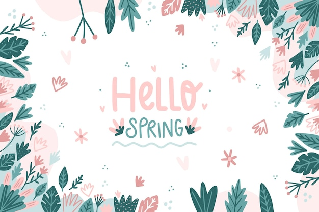 Disegnata ciao primavera sfondo Vettore gratuito