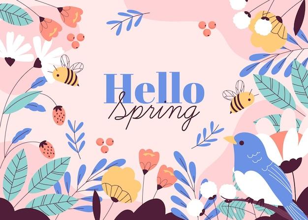 Drawn hello spring background Premium Vector