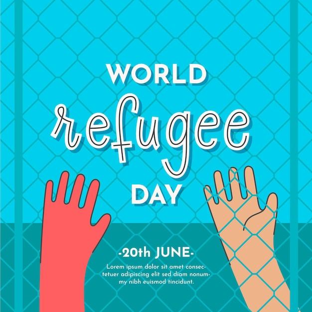 Illustrazione disegnata con evento del giorno del rifugiato Vettore gratuito
