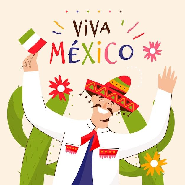 メキシコの独立記念日を祝う男と描かれたイラストレーター 無料ベクター