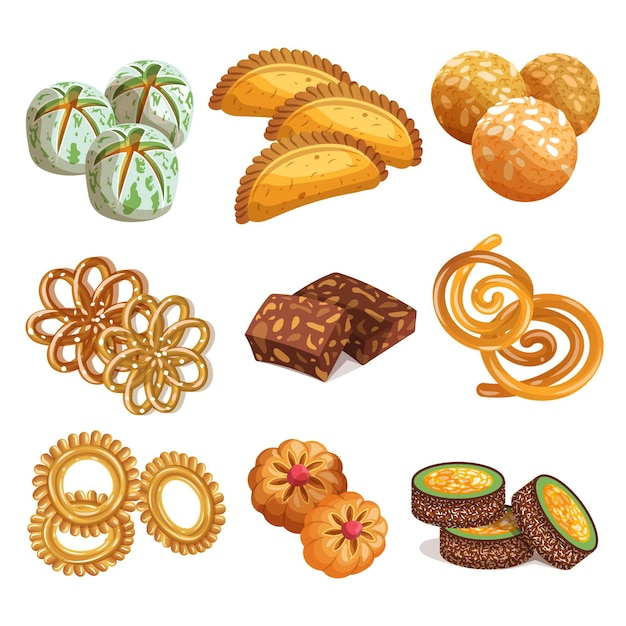 Drawn indian sweets collection Free Vector