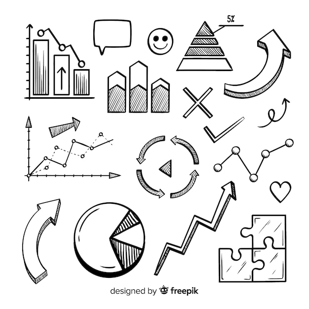 Drawn infographic element collection Free Vector