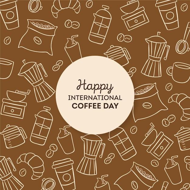 Drawn international day of coffee Free Vector