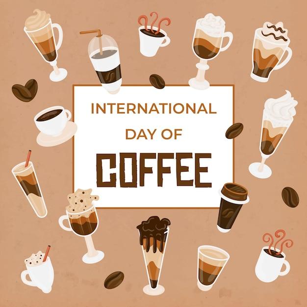 Нарисованный международный день кофе иллюстрации Бесплатные векторы