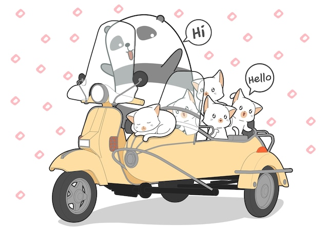 Drawn kawaii cats and panda with motorcycle. Premium Vector