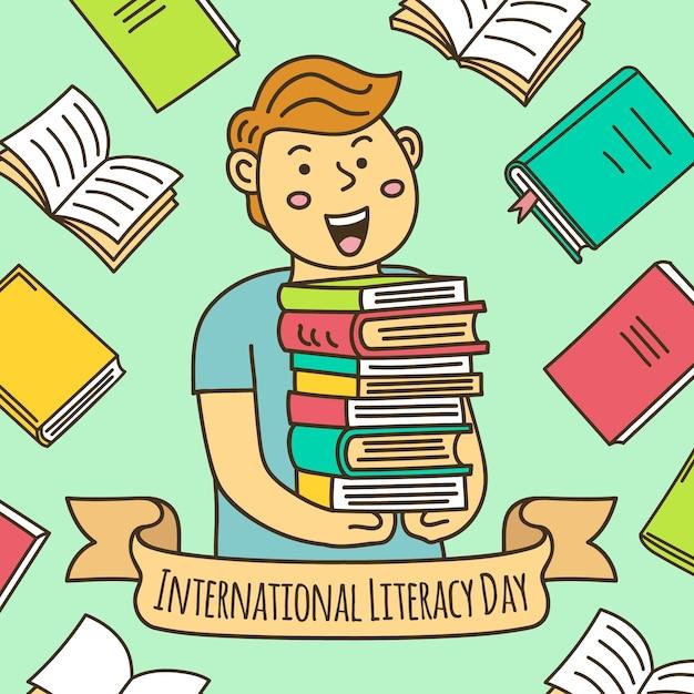 Нарисованная иллюстрация дня грамотности с мальчиком, держащим кучу книг Бесплатные векторы