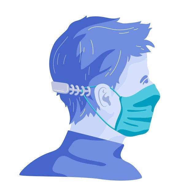 Uomo disegnato che indossa un cinturino regolabile per maschera medica Vettore gratuito