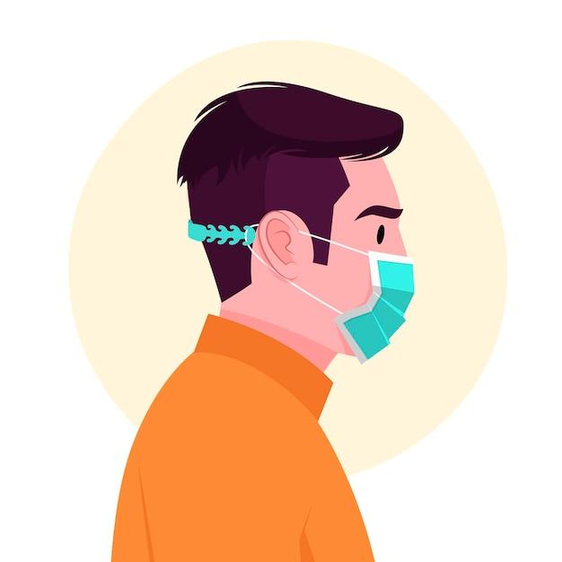 조정 가능한 얼굴 마스크를 쓰고 그려진 남자 무료 벡터