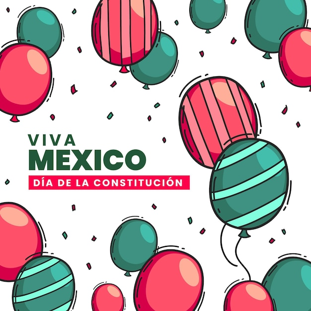 Drawn mexican constitution day balloons Premium Vector