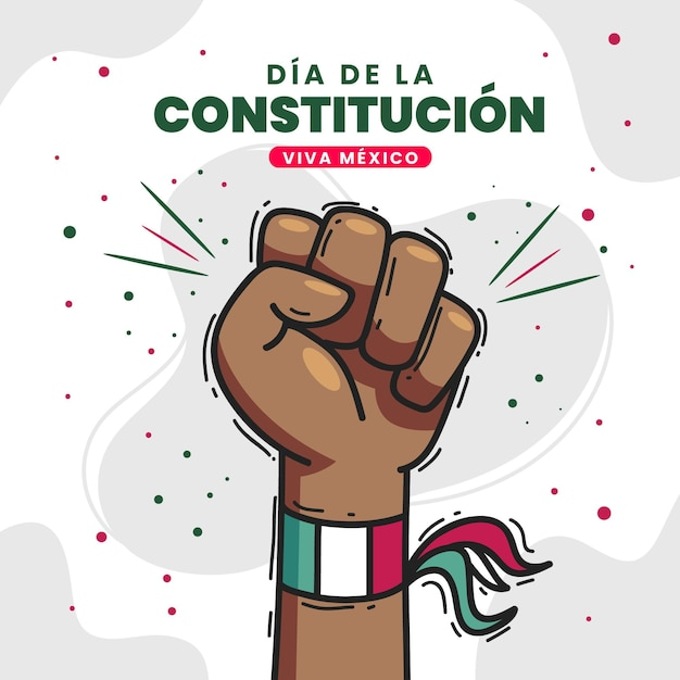 Drawn mexican constitution day hand Free Vector