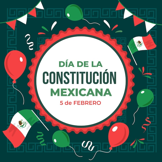 Drawn mexicoconstitution day Free Vector