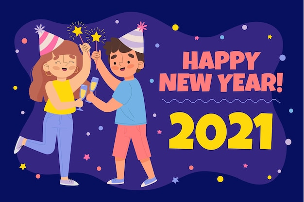 描かれた新年2021年の背景 無料ベクター