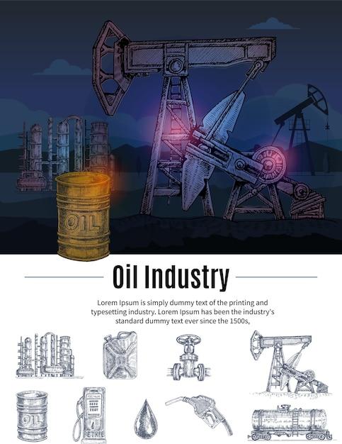 Drawn oil industry composizione Vettore gratuito