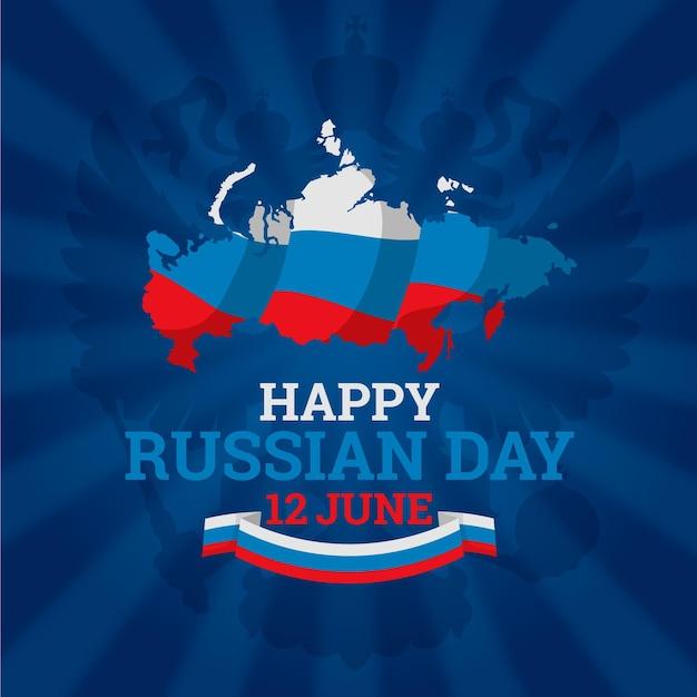 描かれたロシアの日のテーマ 無料ベクター