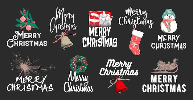 Drawn sketch set christmas and new year holiday Premium Vector