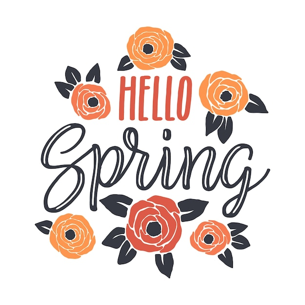 Drawn spring background with colorful flowers and leaves Free Vector